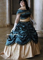 Princess Victorian Belle Civil War Steampunk Ball Dress Gown in teal and light gold satin /Vintage Dress/Holiday Dress