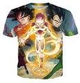 Mulheres / homens Dragon ball z Vegeta Frieza Goku camiseta moda verão 3D impresso anime dos desenhos animados T
