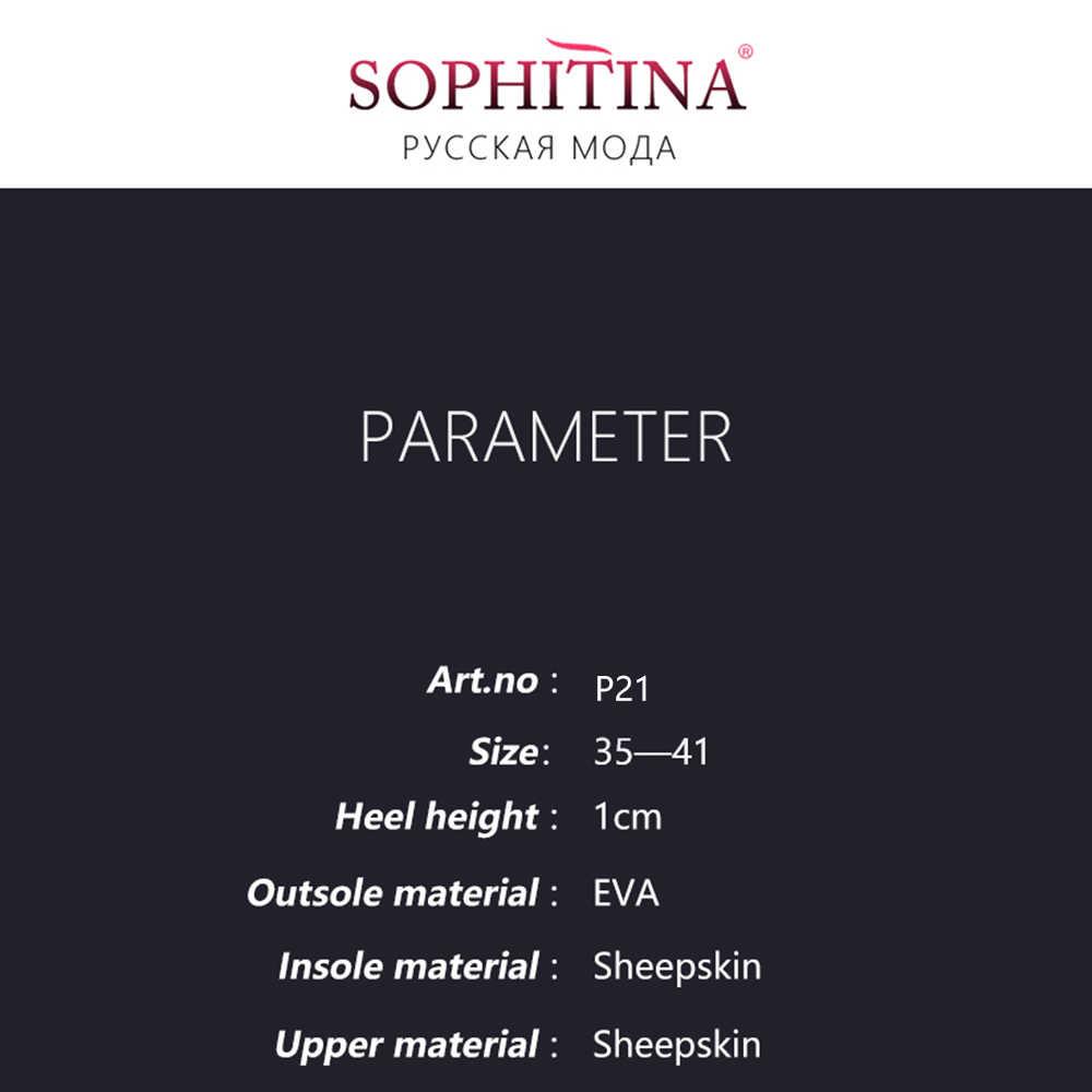 Sophitina Mềm Giày Đế Bằng Da Thật Chính Hãng Da Hoa Trượt Trên Bãi Đỏ Đậm Bạc Màu Xám Giải Trí Mũi Tròn Lắc Chân Nữ Giày p21