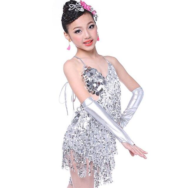 Niña niños vestido Latino Dancewear competencia muchacha de baile danza moderna  traje niño cha-cha 208667e9379