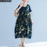 DIMANAF Women Dress Floral Print Linen Pleated Plus Size 2018 Summer Female Lady Fashion Large Size