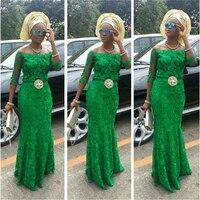 Бесплатная доставка, новый стиль 2018, Vestidos De Fiesta, рукав три четверти, нигерийское зеленое кружевное платье на заказ, RT 0534, платья подружки неве