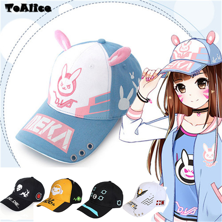 Game OW D.va DVA Cosplay Baseball Cap Women Men Cartoon Rabbit Ear Embroidery Snapback Hat Casual Fashion Cap Adjustable anime pocket monster flareon cosplay cap orange cartoon pikachu ladies dress pokemon go hat charm costume props baseball cap