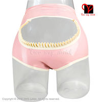 Latex Briefs Open Chaps Frills Rubber Underpants Gummi Lingerie knickers underwear spanking shorts thongs panty plus size KZ 076