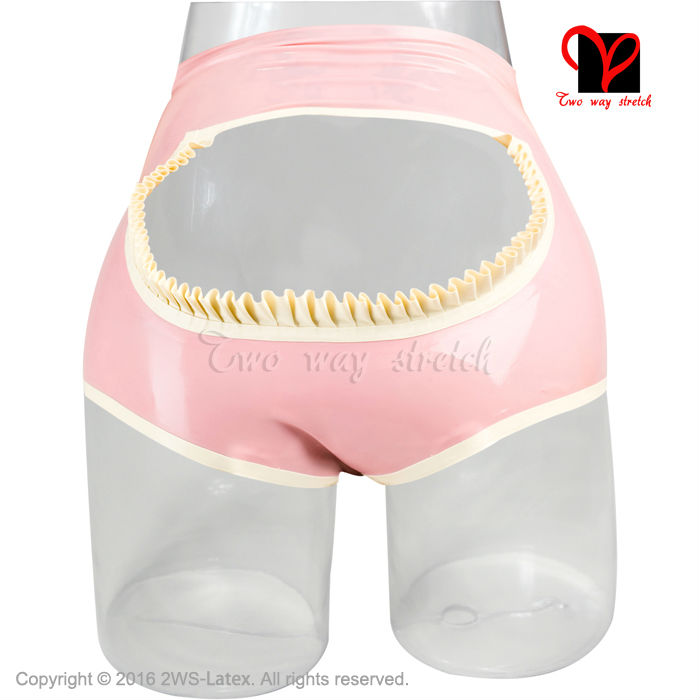 Latex Mémoires Ouvert Chaps Fioritures En Caoutchouc Slip Gummi Lingerie culotte sous-vêtements fessée shorts strings panty plus la taille KZ-076
