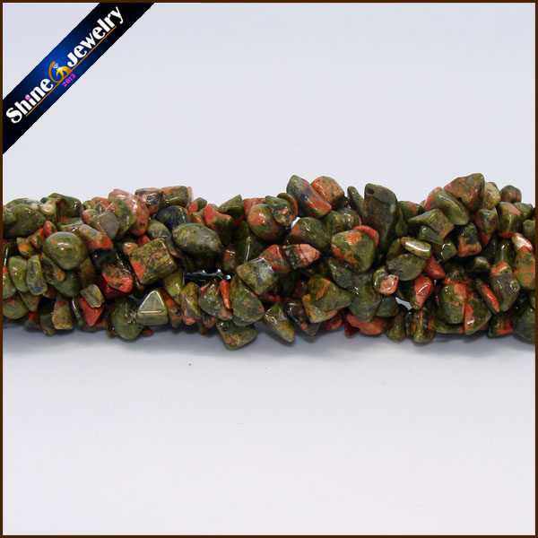 36 Strand 5-8mm Genuine Natural Unakite Chip Gems Freeform Gravel Crystal Loose Beads Jewellery Making Material Stone