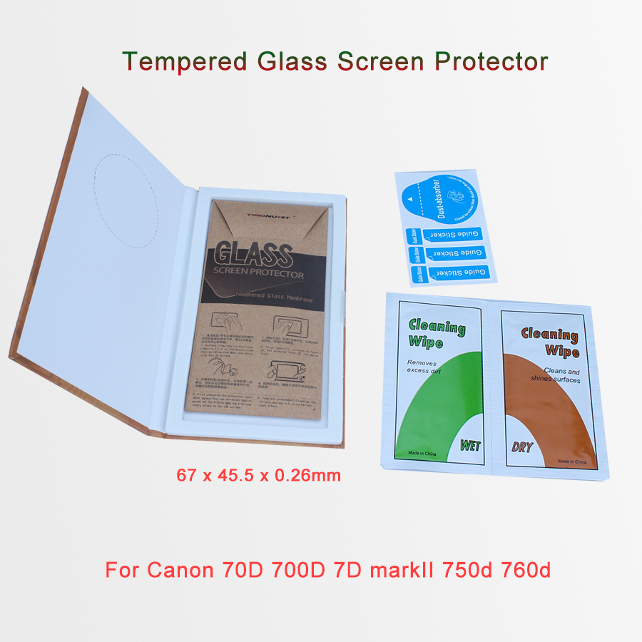 Original 9H Ultra Thin 0.26mm Tempered Glass Screen Protector For Canon 70D 700D 7D markII 750d 760d Toughened Protective Film