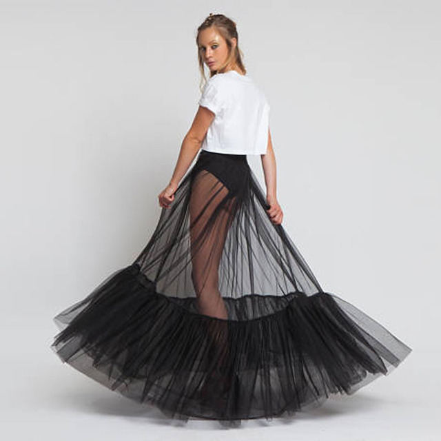 45bab4e44 Sheer One Layer Black Maxi Skirt See Through Women Black Long Tulle Skirt  with Unique Ruched Edge 2018 New Design NO LINING