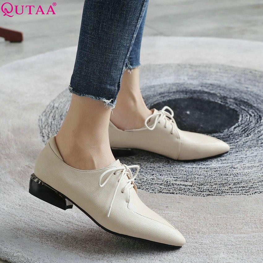 QUTAA 2020 damskie buty kobiety pompy syntetyczne niski obcas moda damskie buty platformy zasznurować Pointed Toe kobiety pompy rozmiar 34  43 w Buty damskie na słupku od Buty na  Grupa 1