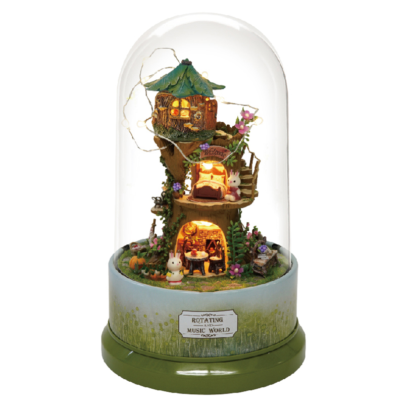 Miniature Forest Lodge Rabbit Dollhouse DIY Wooden Dolls House Furniture Kits Glass Cover With LED Lights Music Box Toy Gift