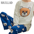 Cute Bear Breast Feeding Pajamas Clothes For Pregnant Cartoon Spring Maternity Sleepwear Lounge Sets Nursing Tops Printed Pants