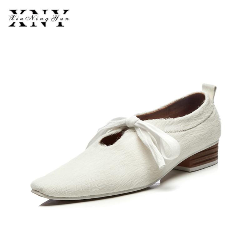 XIUNINGYAN más el tamaño de las mujeres de crin encaje up Flats Oxfords marca diseñador vestido cuadrado mujer zapatos cómodos zapatos mujer