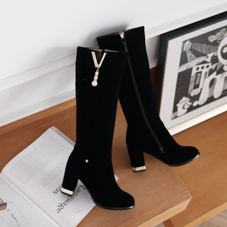 New Beaded Womens Large Size 40 High-heeled Suede Black Knee High Boots Autumn And Winter 7cm11
