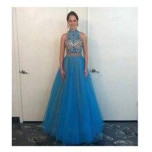 Neue Ankunft Blau Prom Kleid mit Perlen und Kristall Lange Tüll Berühmtheit Kleid Abend Party Kleid Benutzerdefinierte Vestido De Festa