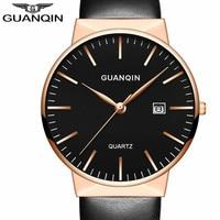 Montre Homme Men Watches Top Brand Luxury GUANQIN Men Ultra Thin Quartz Watch Wristwatch Leather Quartz