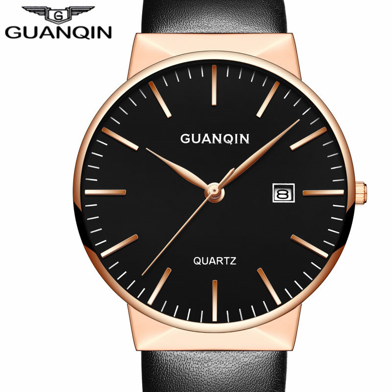 montre homme Men Watches Top Brand Luxury GUANQIN Men Ultra Thin Quartz Watch Wristwatch Leather Quartz Watch relogio masculino