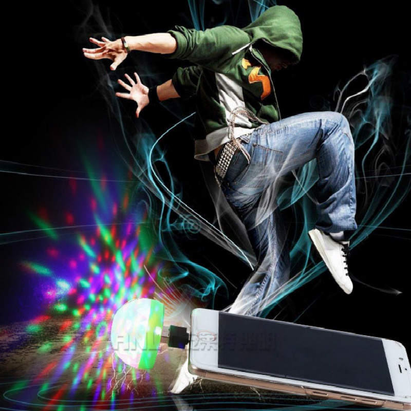 mini USB interface Mobile interface phone portable Dazzle colour disco light stage light party lights free shipping in Stage Lighting Effect from Lights Lighting