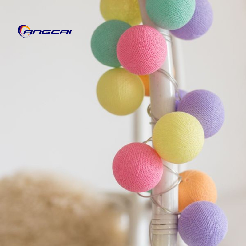 Rainbow Color Mix Cotton Ball String Lights Bedroom Fairy Nursery Night Light Garland Holiday Ice Cream