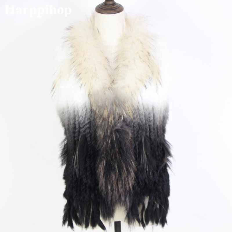 2019 Yeni Gerçek Tavşan Kürk Jile Büyük rakun Kürk Yaka Yelek Örme Tavşan Kürk Yelek Sıcak Kürk Ceket