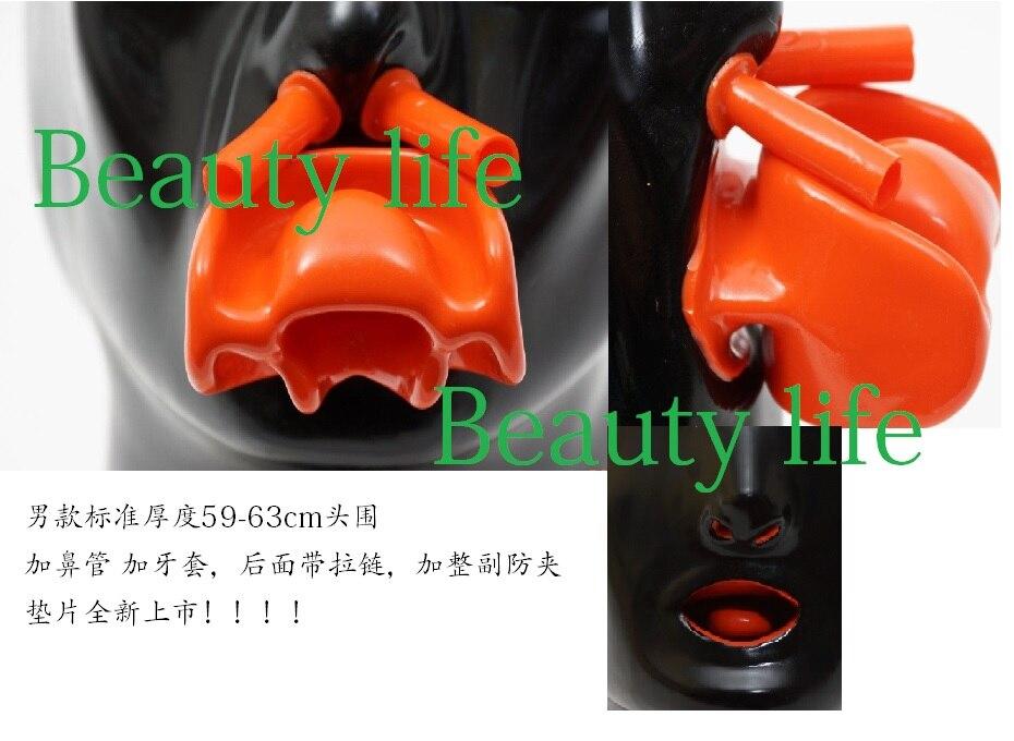 Hot! Latex Nouveau Anatomique 3D masque w oreilles Bonnets w bouche rouge à lèvres face à gaine langue nez tube heavy duty 2 taille disponible