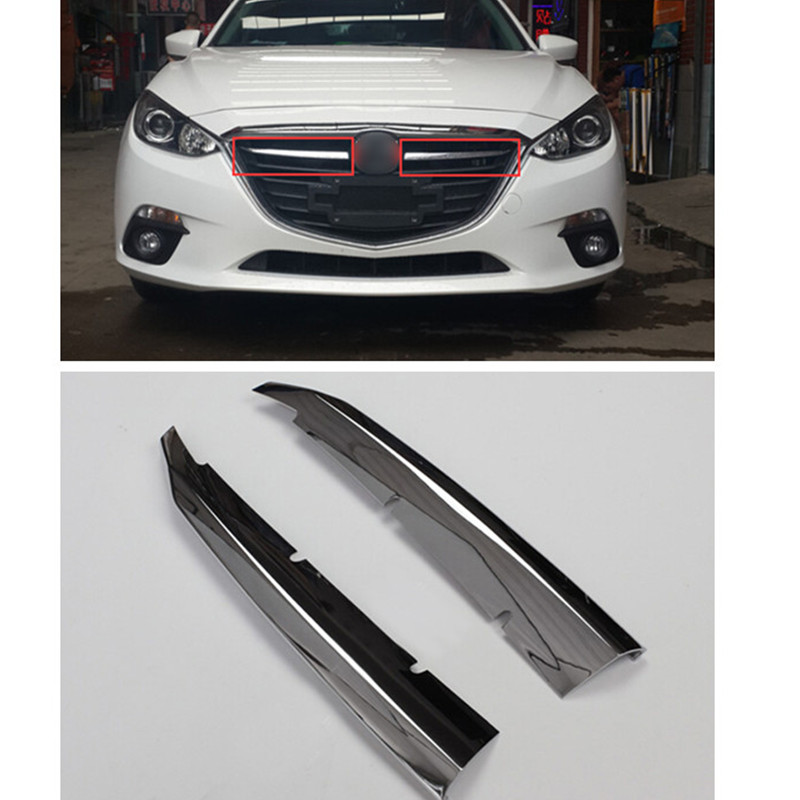 Car styling!2pcs ABS Chrome Front Grill Grille Molding Decorative Strips Trims For Mazda 3 Axela 2014 2015 front grille trims for mazda 3 axela