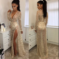 Womens Sexy Hot Sequin Glitter See Through Mesh Party Club Evening Special Occasion Bodycon Deep V Neck Long Dress High Slit