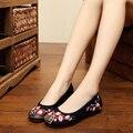 2016 Новый вышивка холст квартиры Plum цветочный Старый Пекин китайский свадьба ткань мягкая обувь национальный вышитые танцевальная обувь
