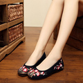 2016 New embroidery canvas flats Plum floral Old Beijing chinese wedding cloth soft shoes national embroidered dance shoes