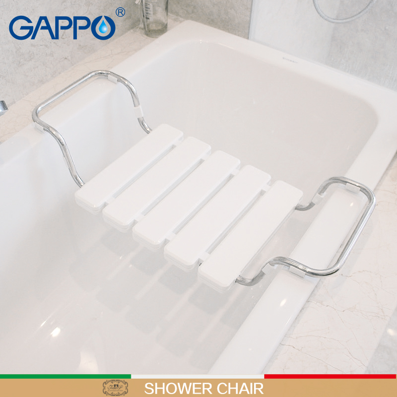 GAPPO Wall Mounted Shower Seats Bath Bench Shower Folding Chair Shower Faucets Bath Tap Mixers Waterfall Bath Sets