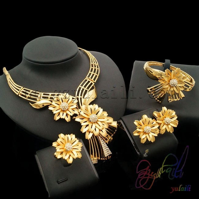 Big Flower Pendant Jewellery Set Latest Design Dubai Gold Color Jewelry Sets Turkish Jewellery