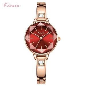 Image 2 - Panie KIMIO bransoletki z zegarkiem dla kobiet moda Red Dial zegarek 2019 Top marka luksusowe kobiet zegarek kwarcowy zegar Relogio Feminino
