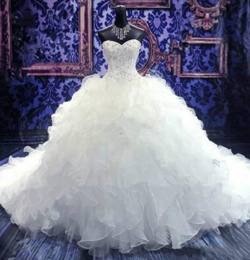 Romantic Sweetheart Popular Modern Puffy Gorgeous White ...