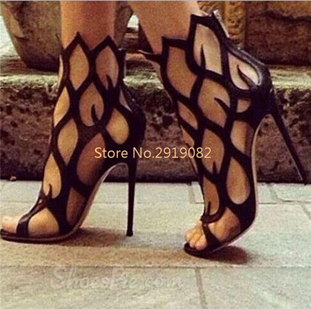 ФОТО 2017 New Arrival Sexy Gladiator Style Black Red Available Women Sandals Back Zip Opening Pointed Toe Ankle Bars Nightclub Shoes