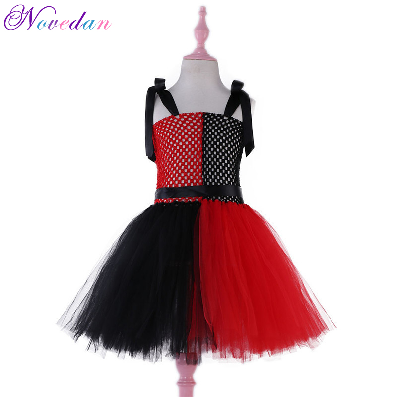 Anime Cosplay Harley Quinn Dress Clown Girl Sorcerer Tutu Suicide Squad Uniform Child Girl Kids Halloween Carnival Dress