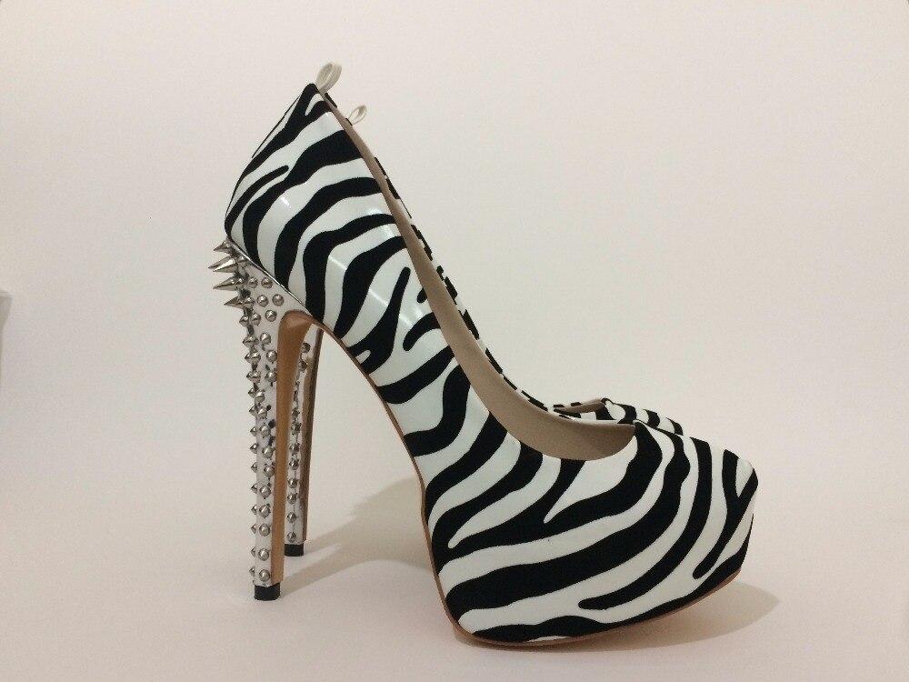 2017 frau sexy leopard zebra high heels spikes plattform slip auf - Damenschuhe - Foto 6