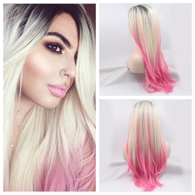 Dark blonde to pink ombre