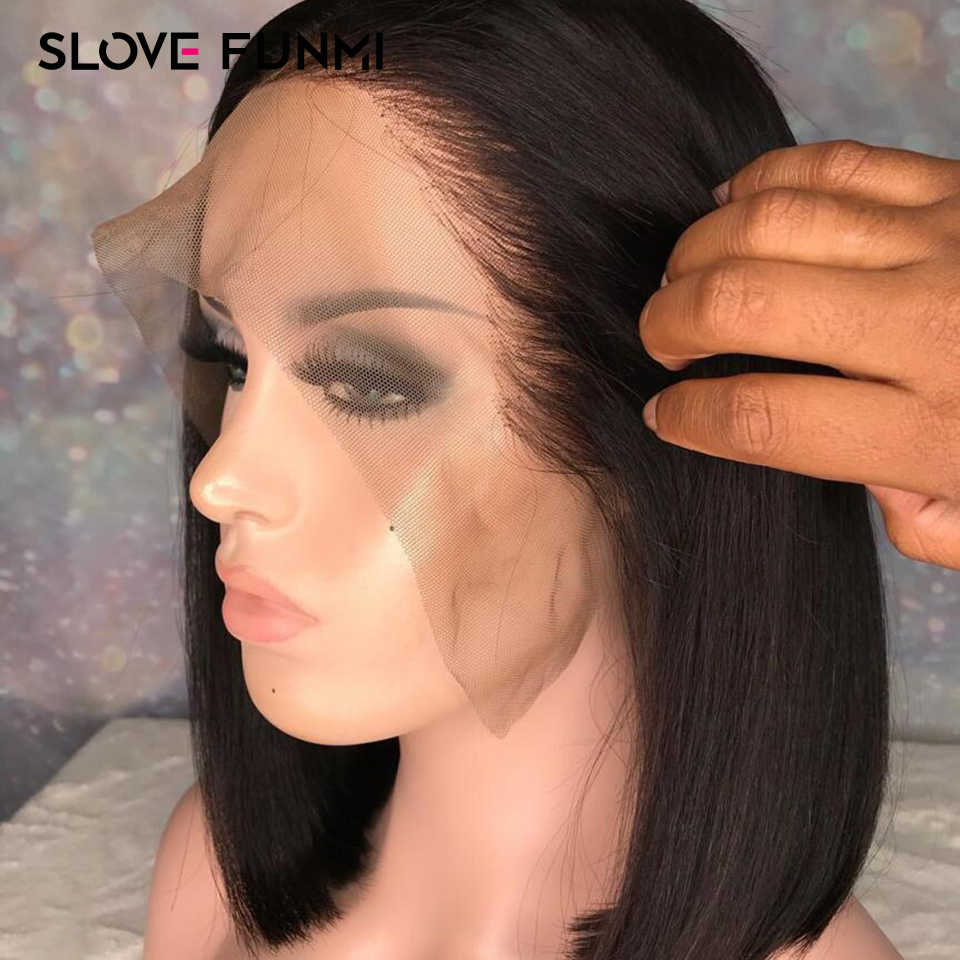 Short Lace Front Human Hair Wigs for Black Women Indian Remy Hair Short Bob Wig Pre Plucked with Bleached Knots Slove Funmi Hair