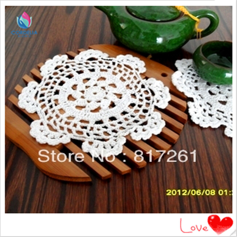 Free Shipping Cotton Crochet Lace Doilies 12 Piclot White Knitted