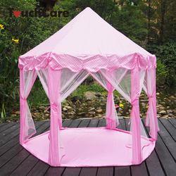 Touchcare seis ângulo rosa princesa castelo gaze tenda casa menina crianças grande indoor ao ar livre brinquedo jogo casa crianças bola jogar tendas