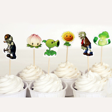 24pcs/pack Birthday Party Plants vs. Zombies Kids Boys Favors Baby Shower Decoration Cake Cartoon Cupcake Toppers With Sticks