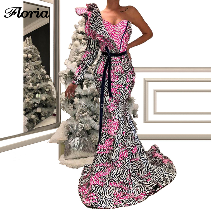 Mermaid One Shoulder   Evening     Dresses   2019 Robe De Soiree Longue Islamic Lace Long Prom   Dress   Middle East Party Gown For Arabic