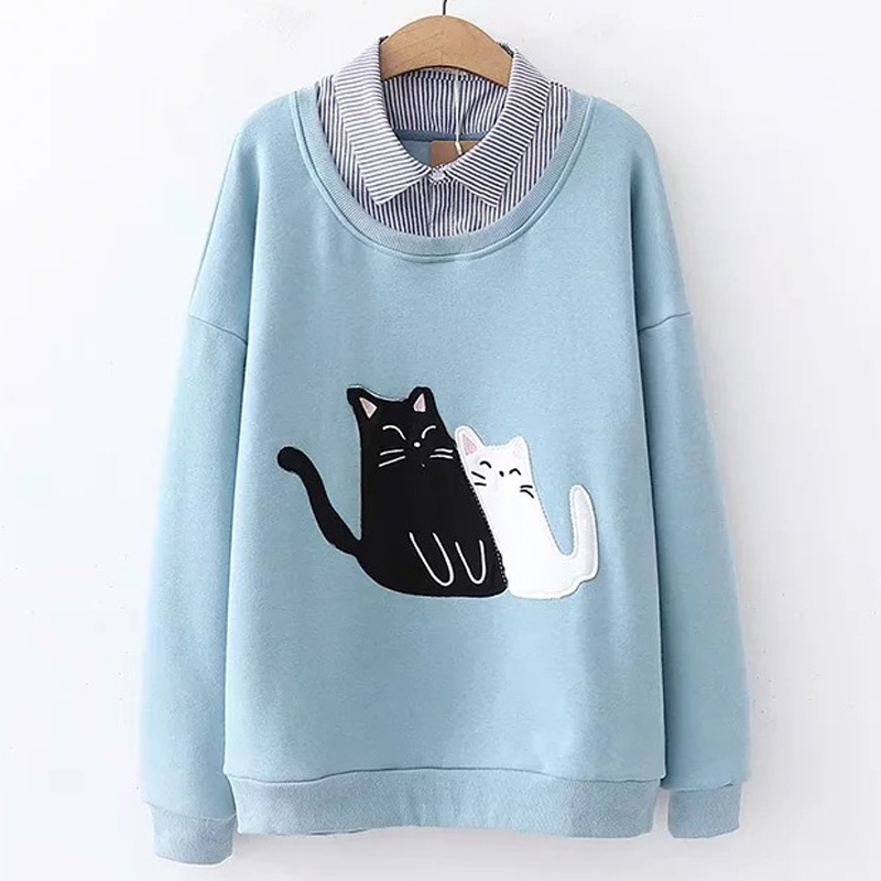 Japanese Women Elegant Harajuku Cute Cartoon Embroidered Shirt Collar Velvet Cat Hoodie Fleece Sweatshirts Pull Femme