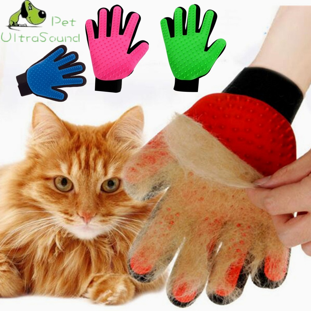 Ultrasound Pet Hair Glove Dog Comb Glove For Dog Animal Hair Brush For Dog Cat Grooming Deshedding True Finger Cleaning Domestic