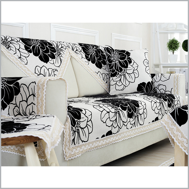 Modern Simple Sofa Cover Pure Linen Towel Slicover Black White Printed Covers Fl Solid