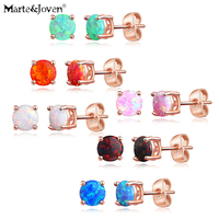 Marte&Joven Rose Gold Synthetic Opal 6mm Round Stud Earrings Set for Women 6 Pairs,Fashion White/Blue/Black Stone Ear Studs