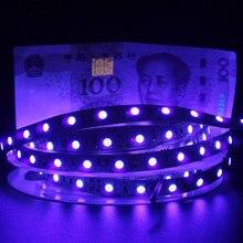 Tira de luzes LED UV 12V, SMD 5050 0.5M 1M 2M 3M 4M 5M à prova dágua faixa ultravioleta flexível para DJs