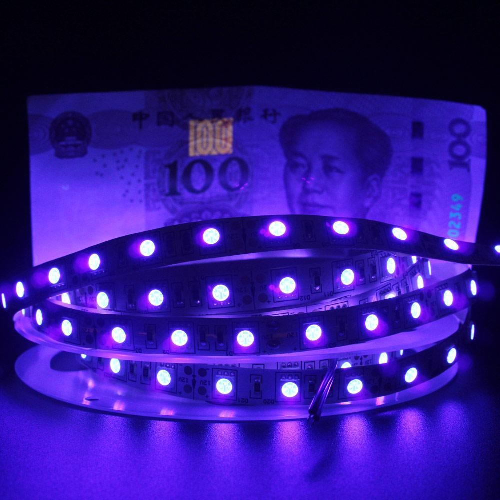 UV LED Strip Light 12V DC SMD 5050 0.5M 1M 2M 3M 4M 5M Waterproof Ribbon Purple Flexible Ultraviolet Tape For DJ Fluorescence