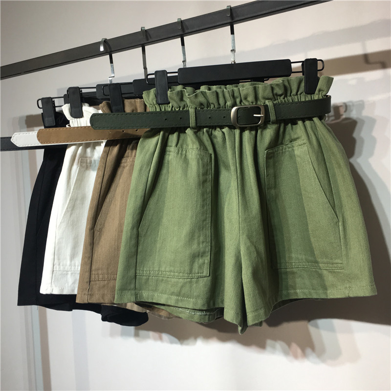 2018 New Summer Autumn Fashion Elastic Sashes High Waist   Shorts   Women Vintage Wide Leg   shorts   Solid Thin Bow Female   Shorts