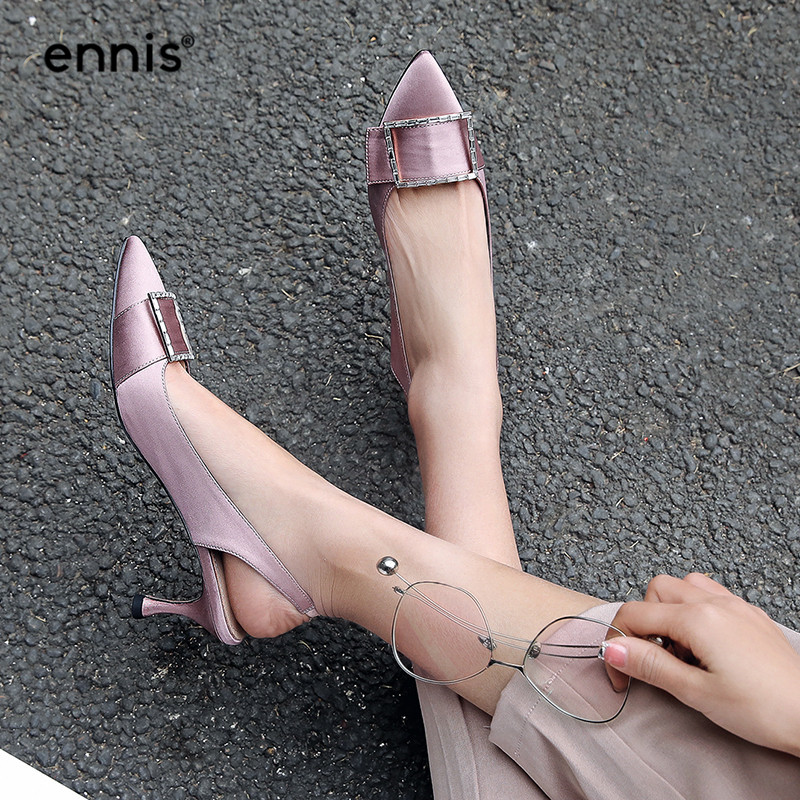Satin Pumps Pointed Toe Women Shoes Thin High Heels Slingbacks Fashion Buckle Crystal Shoes Black Blue