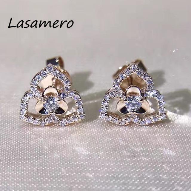 0a4b2ea228f6a9 LASAMERO 0.076CTW Natural Diamond Cluster Earrings 18K White Gold Diamond  Halo Stud Earrings Fine Jewelry